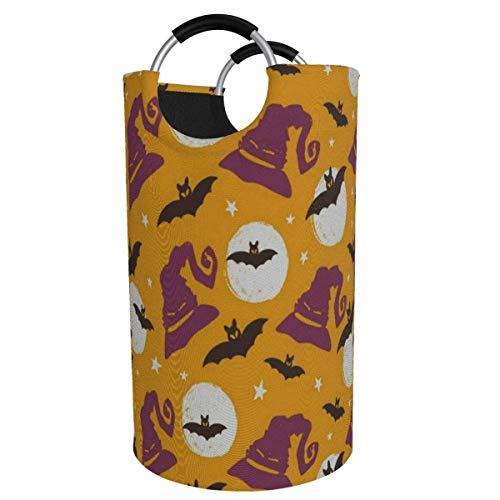 Ahdyr 82L Canasta de lavandería Grande Vintage Happy Halloween Bats Moon Tela de Dormitorio Plegable Cesto de lavandería Plegable Cesta de Ropa Sucia Tote Juguetes Bolsa Papelera de Lavado