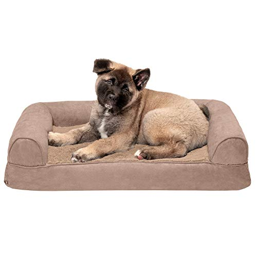 Furhaven Pet Dog Bed - Memory Foam Ultra Plush Faux Fur and Suede Traditional Sofa-Style Living Room Couch Pet Bed with Removable Cover for Dogs and Cats, Almondine, Medium