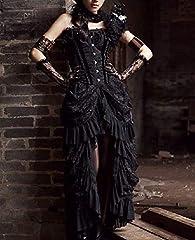 COSWE Women's Black Lace Punk Irregular Dress Steampunk Skirt Cosplay Costume (3XL) #4