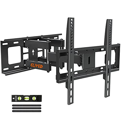"""Full Motion TV Mount TV Wall Mount with Swivel and Tilt for Most 26-55 Inch Flat Screen TVs, Wall Mount TV Bracket with Dual Articulating Arms, Max VESA 400x400, Holds up to 99 lbs. 16"""" Studs ELIVED"""