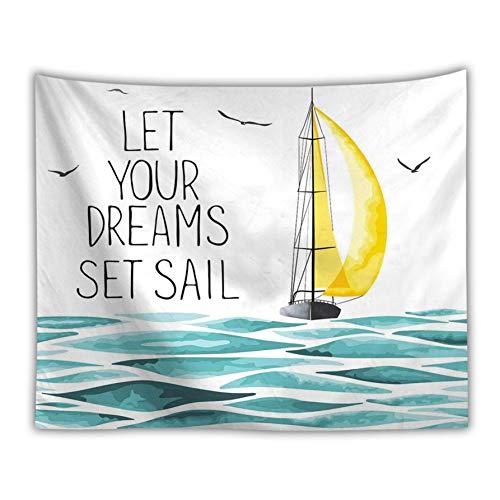ZSYNB Wandtapijt, zeilboot, hippie wandtapijt, schip, meeuw, landschap, wandtapijt, Ferry, boot, decoratie, hoofdeinde, wand, stof No frame 150 X 130cm