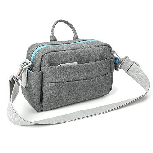 Bodyguard System Messenger Bag Kameratasche grau, als Bridgekameratasche und Systemkameratasche einsetzbar, versteckbarer Hüftgurt, viele Fächer, Platz für Systemkamera und 2-3 Objektive