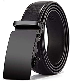 Mens Leather Belts Ratchet Belt Genuine Black Leather Casual & Business Max Length 130cm By CHOEES Balck (Black 1)