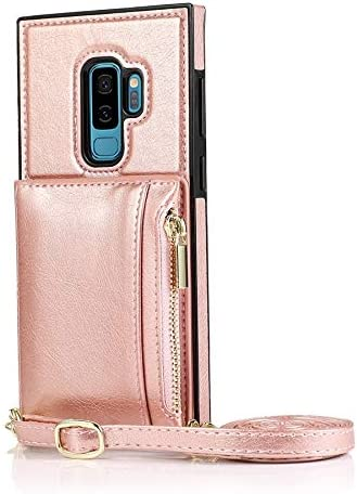 Case for Samsung Galaxy S9 Plus, Zipper Wallet Case with Credit Card Holder/Crossbody Long Lanyard, Shockproof Leather TPU Case Cover for Samsung Galaxy S9 Plus (Color : Rosegold)