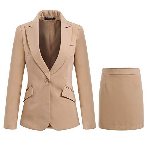 YYNUDA Hosenanzug Damen Business Outfit Slim Fit Blazer Elegant mit Anzughose/Rock für Frühling Sommer