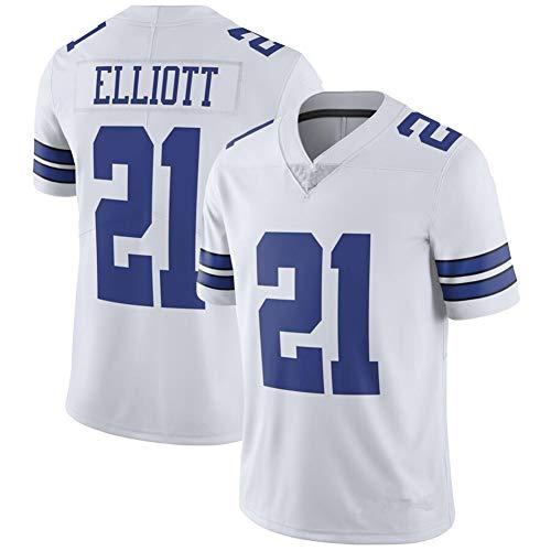 Ezekiel Elliott # 21 Dallas Cowboys American Football Trikot, Rugby Jersey Stickerei Herren T-Shirt Schnelltrocknendes Kurzarm-Sweatshirt-White-L
