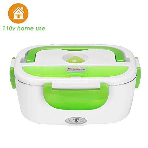 Vmotor Electric Lunch Box Food Heater Portable Lunch Heater with Removable 304 Stainless Steel Container Food Grade Material(110V Green)