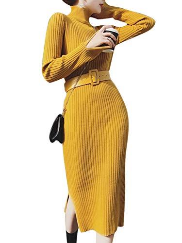 MsLure Damen Herbst Kleid Elegant Knielang Mit Schlitz Rollkragen Eng Pullover Winter Strickkleid Gelb