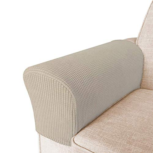 High Stretch Armrest Covers for Chairs and Sofas Spandex Jacquard Fabric Small Checks Armchair Covers for Arms Couch Arm Covers Armrest Covers for Sofa/Recliner Non Slip, Set of 2, Beige