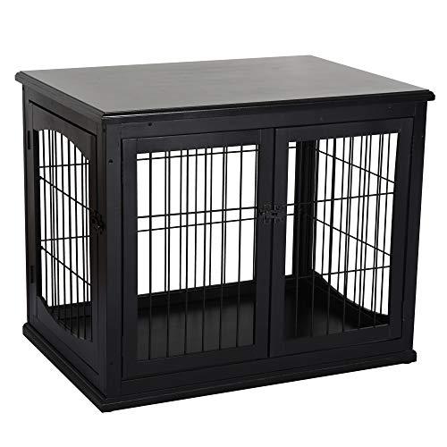 Pawhut Hundehütte mit Tischoberfläche, Hundebox für innen, Hundekäfig für Zuhause, 2 Türen, Tierkäfig, Haustier, MDF, Metall, Schwarz, 81 x 58,5 x 66 cm