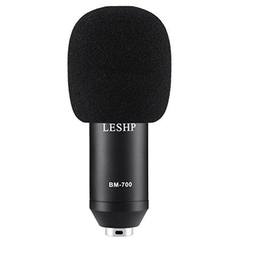 LESHP Juego profesional de Micrófono de Condensador Montura Metálica Tarjeta de sonido USB