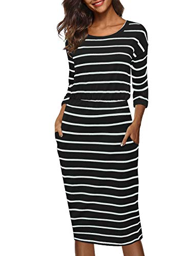 Moyabo Church Dresses for Women Striped 3/4 Sleeve Round Neck Elastic Wasit Causal Dresses with Pockets Black Large