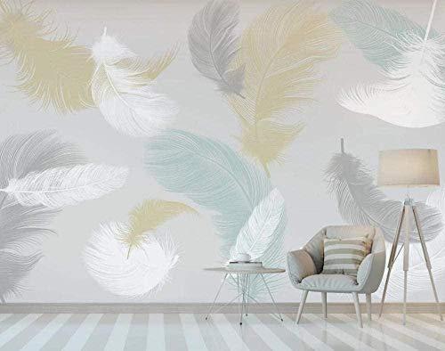 Plumas de color Papel pintado simple y fresco Papel pintado no tejido Mural de efecto 3D Pared Pintado Papel tapiz 3D Decoración dormitorio Fotomural sala sofá mural-430cm×300cm