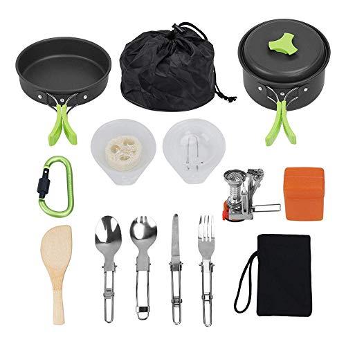 YSCYLY kampeerkookgerei, kookgerei voor 1-2 personen, opvouwbare pot met kachel, lichtgewicht en duurzame pannenset