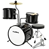 LAGRIMA 3 Piece Kids Drum Set with Adjustable Throne, Cymbal, Pedal & Drumsticks, Black