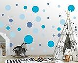 100 Stück runde Wandtattoo Punkte fürs Kinderzimmer - 100 Wandsticker Set - Pastell Farben für Baby zum Kleben Wandaufkleber Sticker - Wandfolie Dots Kreise Jungs Boys Himmelblau - Blau - Dunkelblau