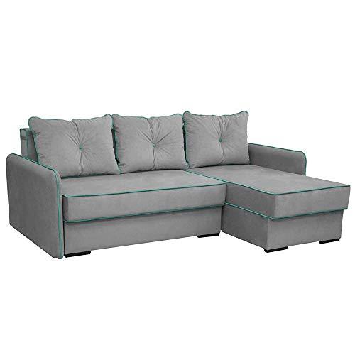 VitaliSpa Ecksofa Kansas Schlaffunktion Grau - Couch Schlafsofa Bett Eckcouch Taschenfederkern Sofa