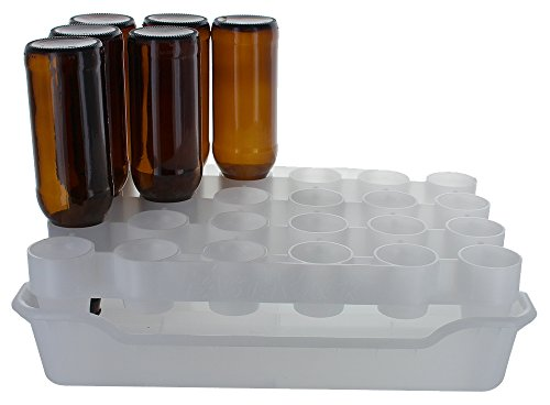 FastRack Bottle Drying Rack & Tray Kit - Bottle Drying Tree alternative; Dry or Store your Beer, Wine or Bomber/Belgian Bottles; Add to your Home Brewing Supplies (FastRack24 One Rack & One Tray)