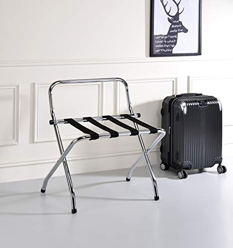Kings Brand Furniture - Chrome / Black Metal Foldable High Back Luggage Rack
