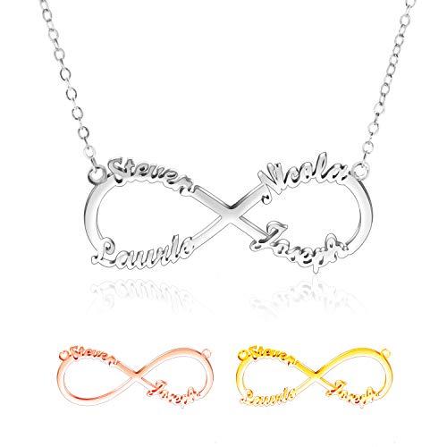 Collar con Nombre Personalizado - Collar Infinito Plata 925 Mejores Amigas Collares- Collares Mujer & Hombres -2,3,4 Entonces