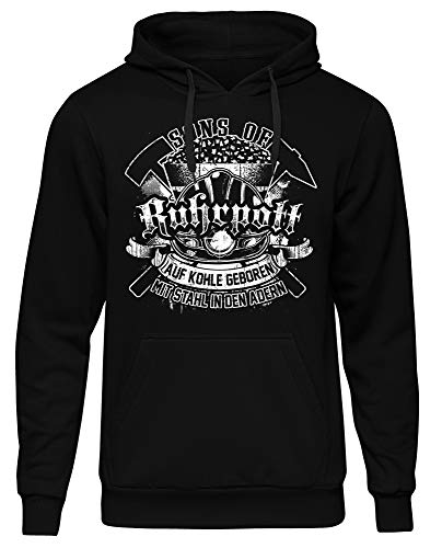 Uglyshirt89 Sons of Ruhrpott Männer Herren Kapuzenpullover | Ruhrgebiet Revier Glück auf Bergbau Kumpel Fussball | M11 (M)