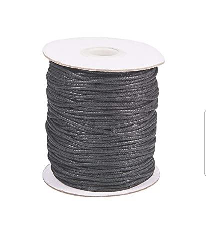 P.R.C 10 metros de cable de cera para joyas, collar, pulsera, hilo de 1 mm y 1,5 mm (negro, 1 mm)