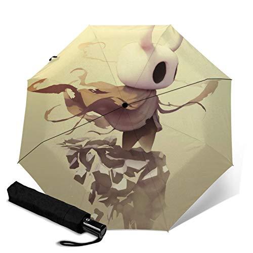 El paraguas de tres pliegues Hollow Knight abre y cierra automáticamente Waterpro de viaje, protección UV y plegable al aire libre, cómoda capa de transporte