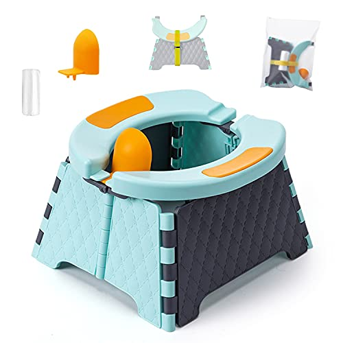 Portable Potty for Toddler Travel, Potty Training Seat, Foldable Potty Seat Travel Potty for Kids Car Potty Boys Girls Reusable Emergency Toilet for Home Outdoor
