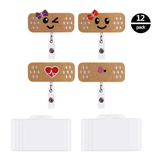OOTSR Abzeichen Rollenhalter einziehbare ID Filz Abzeichen Holde niedlich Abzeichen Reel für Krankenschwestern Studenten Lehrer,4er-Pack Abzeichen Reel und 8er-Pack ID-Ausweishaltern (3,7 'x 2,4' ')