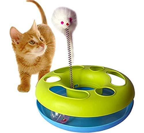 DINY Home & Style Mouse and Ball Cat Toy Sturdy Base with a Plush Mouse and Rolling Ball