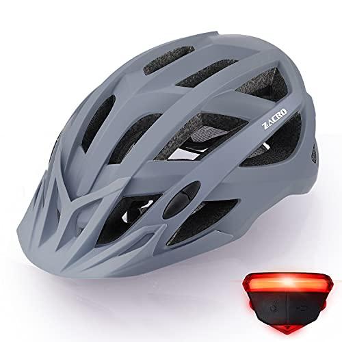 Zacro Fahrradhelm mit Rücklicht - CE Zertifiziert Bike Helmet mit Auswechselbaren Innenfutter und Abnehmbarer Sonnenblende, Verstellbar Mountainbike Helm 54-63cm für Herren Damen, Grau
