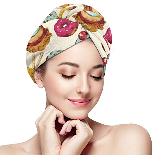 Rainbow Ice Cream Dessert Candies Dry Hair Cap Microfibre Hair Towel Wraps Ultra Absorbent Quick Dry Twist Turban with Button for Drying Curly Long Thick Hair 28 inch X 11 inch
