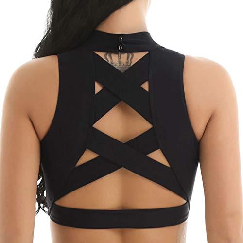 YiZYiF Women Girls Sleeveless Mock Neck Criss Cross Back Sports Bra Crop Tank Top Black X-Large