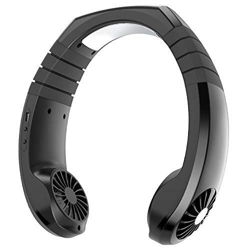 SHAIRMB Ventiladores USB para Colgar Cuello, Ventilador Personal Sin Cuchillas Manos Libres, Ventilador PortáTil con Control Viento 3 Velocidades y Recargable, para Viajes, Transporte Deportivo,Negro