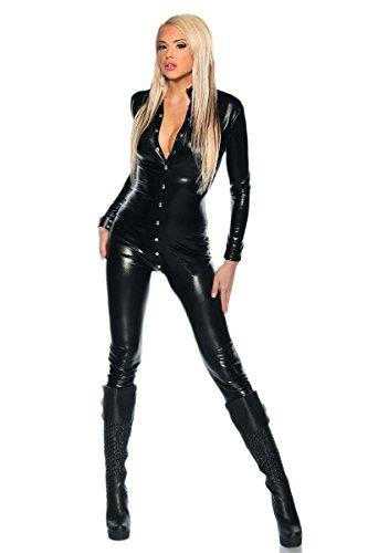 MFFACAI Negro Cuero Catsuit,Mono de Wetlook Disfraz Catwoman camisón Sexy