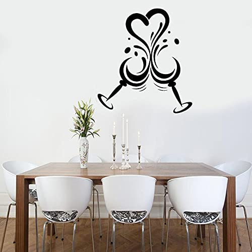 Jsnzff Love Vine Copa de Vino Pegatinas de Pared Restaurante Restaurante Restaurante decoración Vino Pegatinas de Pared Vinilo Bar extraíble 57x63 cm