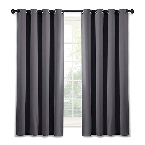 NICETOWN Blackout Window Curtain for Bedroom - (Grey Color) Home Decoration Thermal Insulated Room Darkening Drape/Drapery, W52 x L63 Inch, 8 Grommets/Rings Top, 1 Panel