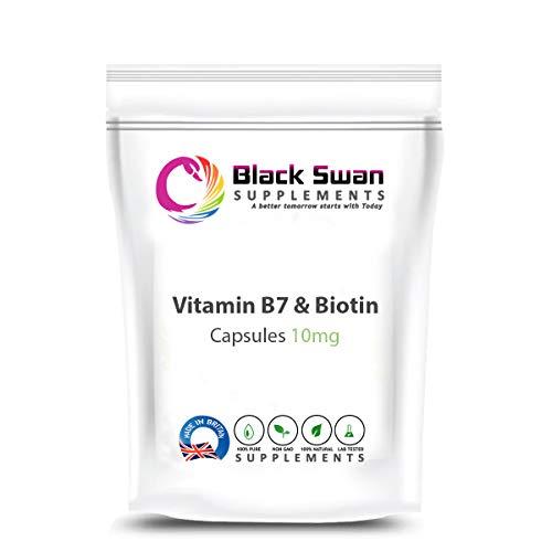 Black Swan Vitamin B7 Biotin 10mg Capsules – Supports Healthy Metabolism and Healthy Hair-Skin-Nails - UK Made (60 Caps)