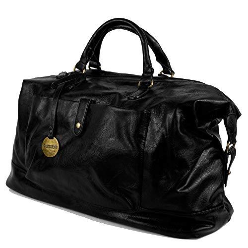 Borsone da viaggio uomo nero con manici tracolla borsa vintage nera grande palestra dottore lavoro eco pelle valigia a mano casual voli aereo ecopelle Nero