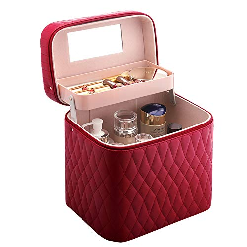 Make Up Case Makeup Box Beauty Case Organiser with 1 Foldable Trays,Wine Red