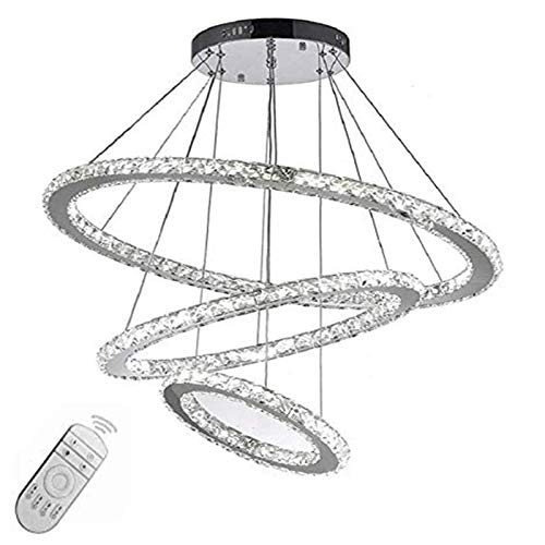 72W LED Kronleuchter Hängelampe Kristall Pendelleuchte Drei Ringe Perlen Hängeleuchte Dimmbar Lüster mit Fernbedienung