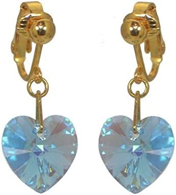 VALENTINE Gold Plated Aquamarine AB Heart Crystal Clip On Earrings