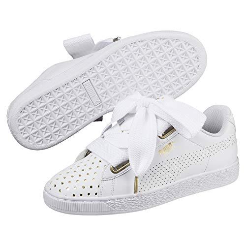 Puma Scarpe Sneakers Basket Heart Ath Lux Donna Bianco 36672801-WHITE