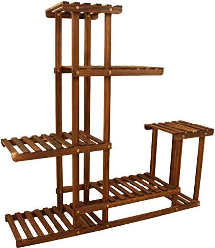 Beginnerzijde van hout, bloemenstandaard van hout, voor binnen en buiten (kleur: bruin, maat: groot)