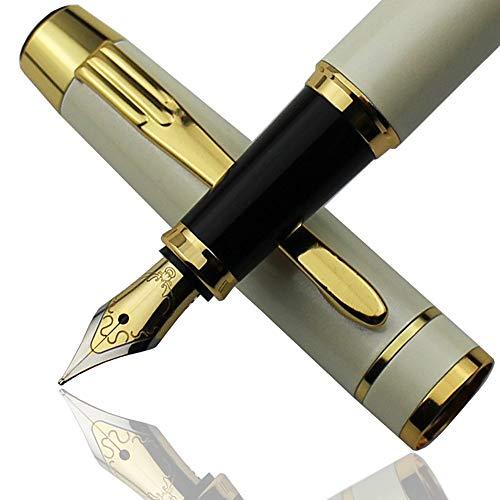 MiSiBao 高級万年筆セット ブラックインクカートリッジ6個とボールペンリフィル - スムーズでエレガント ギフトボックス付き ホワイト