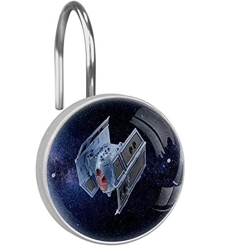 Star Wars - Ganchos para cortina de ducha con diseño de nave, 12 ganchos de cristal para cortina de ducha, resistentes al óxido, anillos de ducha decorativos para baño