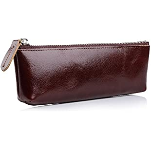 7Felicity Handmade Leather Pencil Pen Case Pouch,Small Travel Makeup Cosmetic Bag,Supply Gadget Holder(201S)