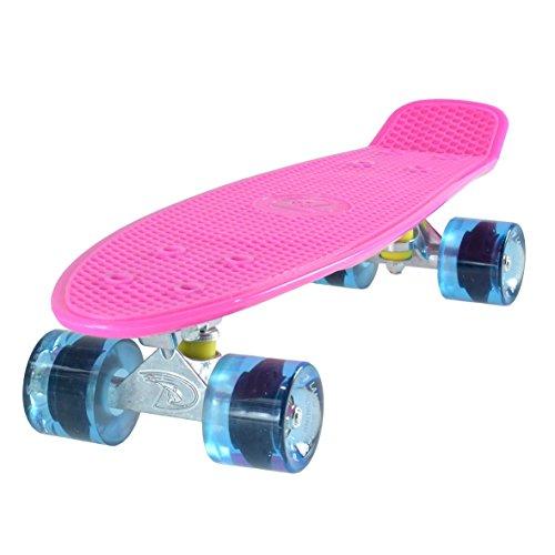 Land Surfer Skateboard Cruiser Retro Completo 56cm - cojinetes ABEC-7 - Ruedas Transparentes o coloreadas 59mm PU + Bolsa para el Transporte - Tabla Rosa/Ruedas Azules Transparentes