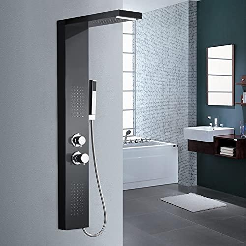 LARS360 Duschpaneel Duscharmatur aus Rostfreiem Edelstahl, 4 in 1 Duschsystem mit Handbrause, Regendusche, Massagedusche und Wasserfalldusche, Duschset für Badezimmer Dusche (Schwarz Duschpaneel)