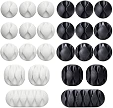 24 Pieces Black&White Cable Clips, Viaky Strong 3M Adhesive Desk Wire Management Cable Organizer Wire Holder, Multipurpose Cord Clamps for Cell Phone Chargers/Power Wires/Charging Cables/USB Cords/Audio Cables/Headphones